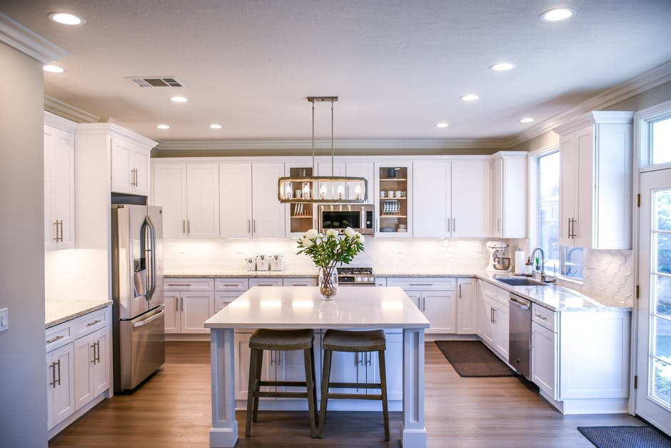A large kitchen with an island in the middle of a room